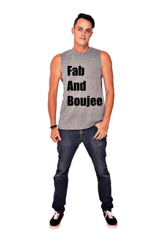 FAB AND BOUJEE muscle tee (heather grey/black)