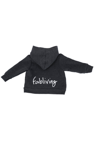 FP kids fabliving fleece zip hoodie (dark heather grey/white)