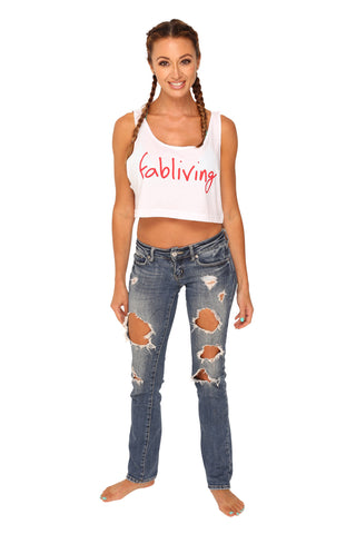 fabliving crop tank (white/red)
