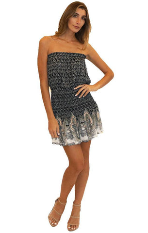 BLUE LIFE DRESSES SMOCKED WAIST STRAPLESS PRINTED NAVY MINI DRESS