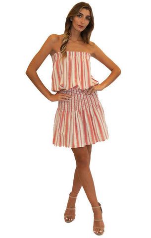 BLUE LIFE DRESSES SMOCKED WAIST STRAPLESS STRIPED MINI DRESS