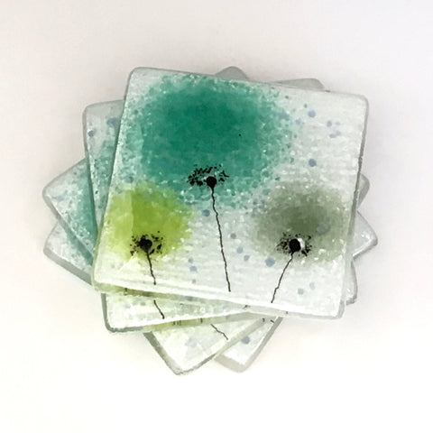 Green flower fused glass coasters - Fired Creations