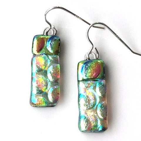 Pastel dichroic glass earrings - Fired Creations
