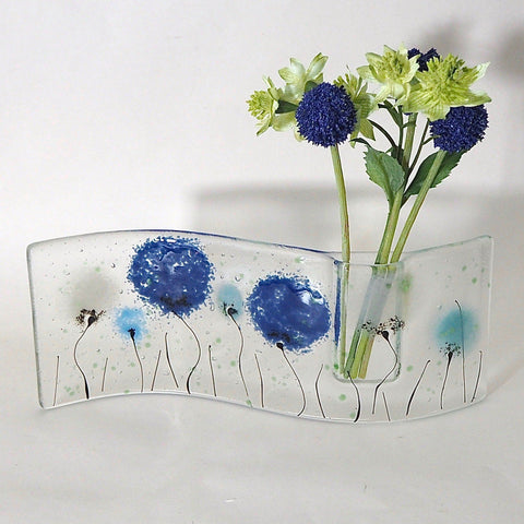 Blue grey fused glass bud vase - Fired Creations