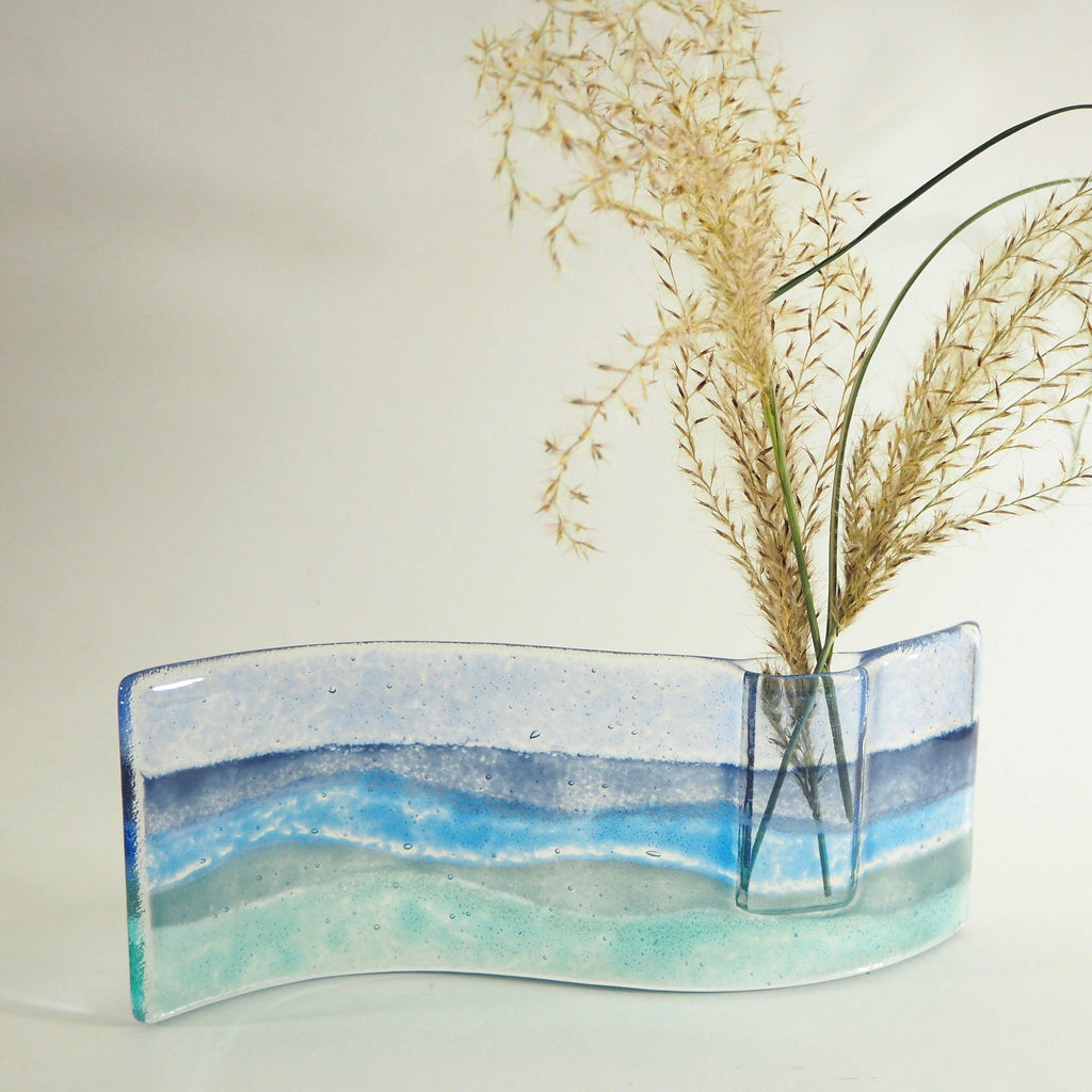 Fused glass bud vase - seascape - Fired Creations