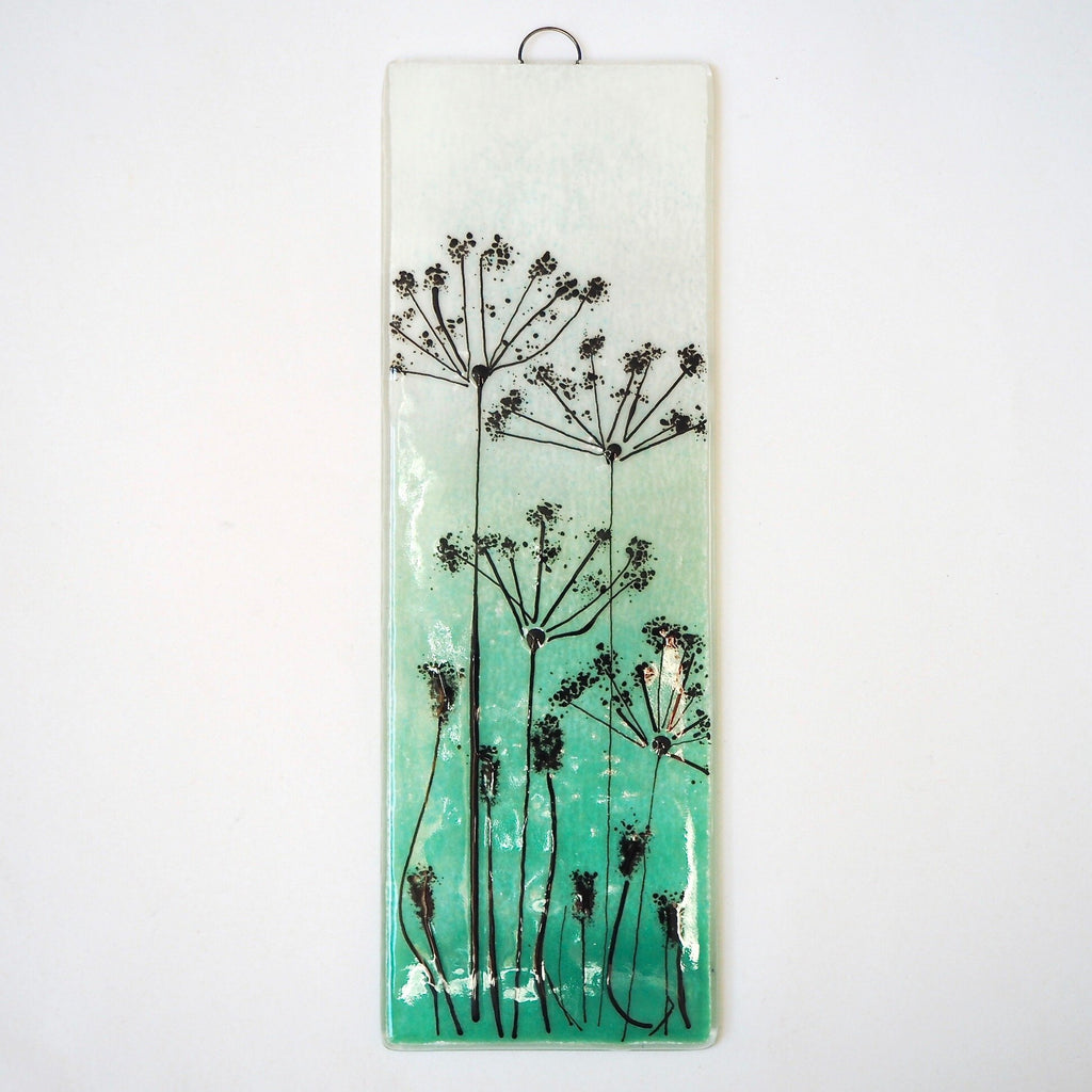 Fused glass art - emerald green with cow parsley - Fired Creations