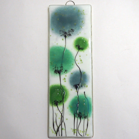 Green flowers fused glass wall art panel - Fired Creations