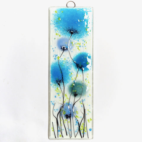 Fused Glass Wall Art - Turquoise, Sea Blue And Lilac Flowers Fused Glass Art