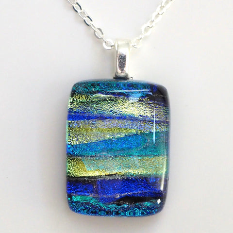 Blue green gold dichroic glass necklace - Fired Creations