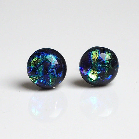 Blue green lime dichroic fused glass stud earrings - Fired Creations