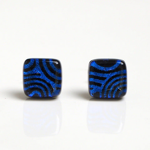 Blue swirl stud earrings - fused dichroic glass - Fired Creations