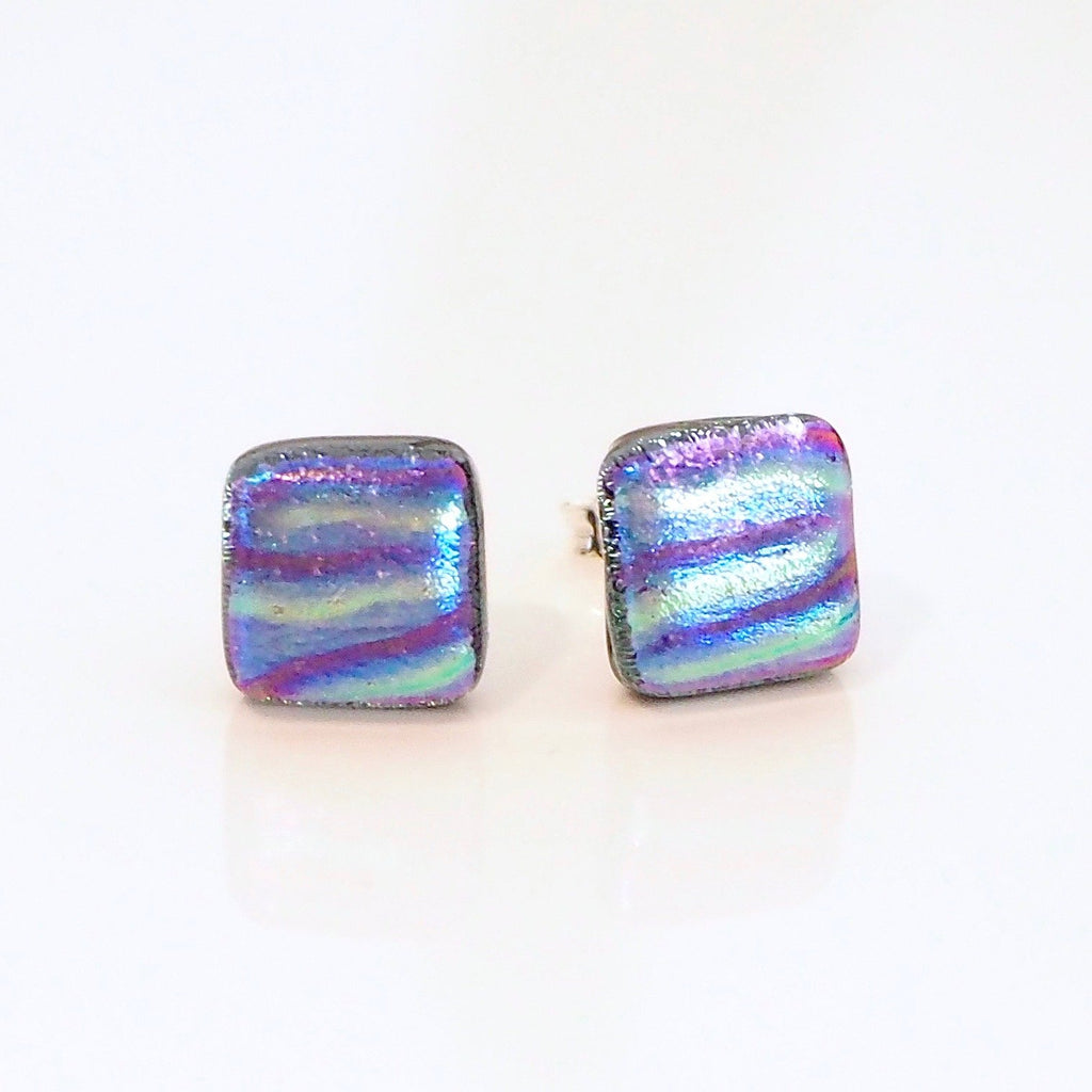 Gold purple and blue dichroic glass stud earrings - Fired Creations