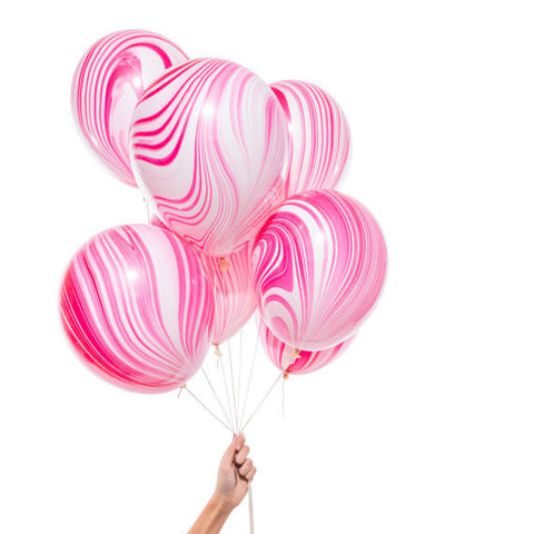 Pink and White Marble Balloons