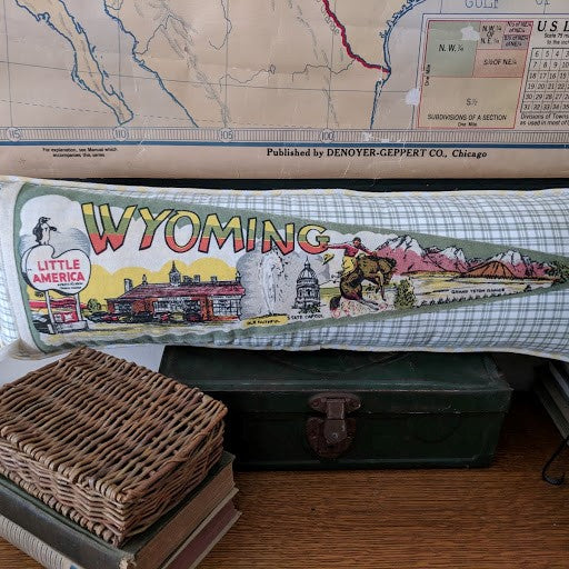 Wyoming Vintage Pennant Pillow