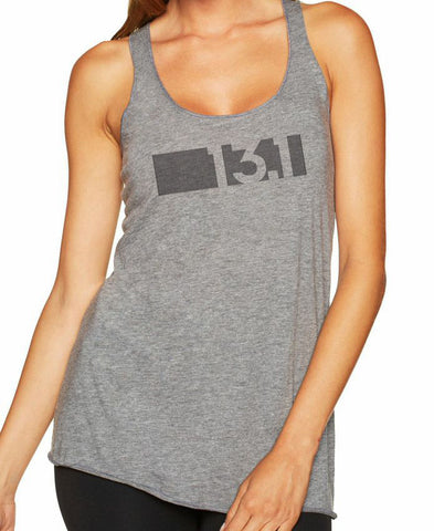 "Women's running racer back tank top ""13.1 BAR CODE"""