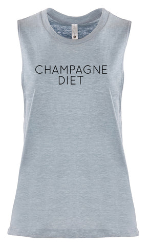 "Women's Sleeveless Workout Tee ""Champagne Diet"""