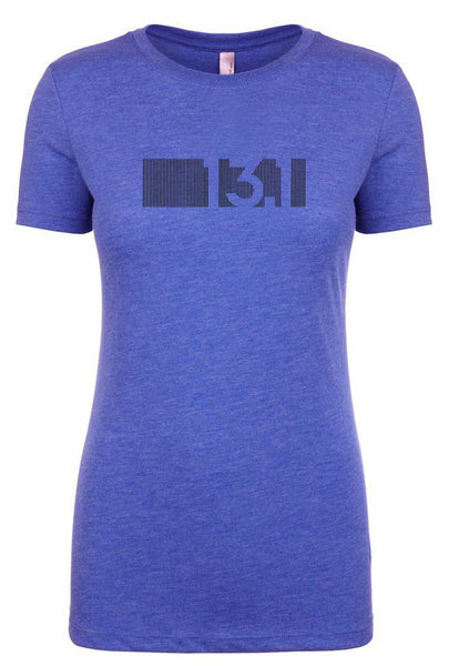 "Woman's short sleeve tshirt ""13.1 barcode"" black on royal blue by Endurance Apparel"