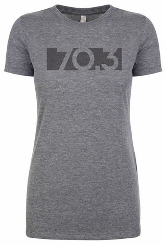 "Woman's short sleeve tshirt ""70.3 barcode"" black on grey by Endurance Apparel"