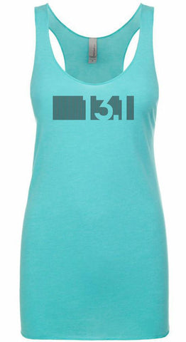 "Women's racer back running tank top ""13.1 BAR CODE"" by Endurance Apparel"