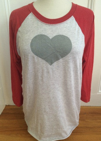 White & Red Baseball Tee Silver Heart