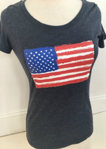 Navy Scoop Short Sleeve with Flag
