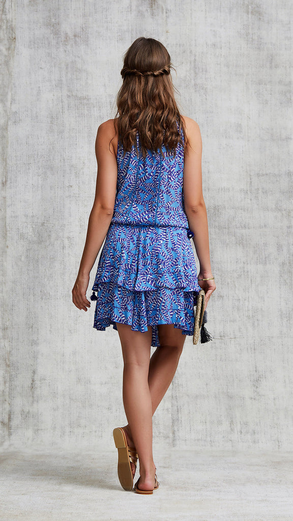 MINI DRESS AMORA LAYERED - BLUE PAPILON