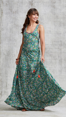 LONG DRESS BETY SLEEVELESS - GREEN AZALEA