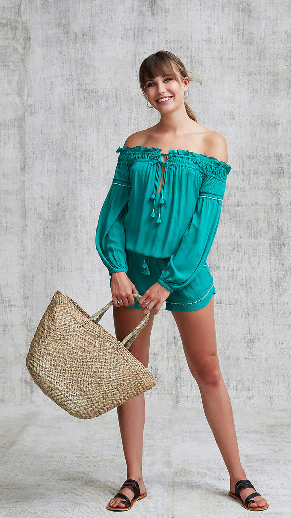 SHORT JUMPSUIT CLARA OFF SHOULDER - GREEN