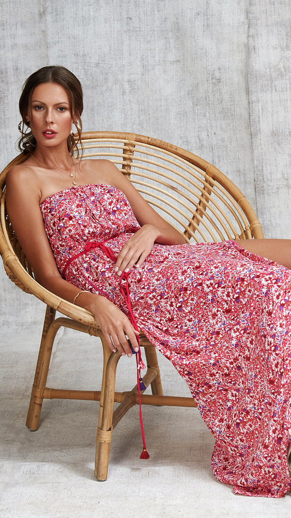 LONG DRESS MARA STRAPLESS - PINK AZALEA