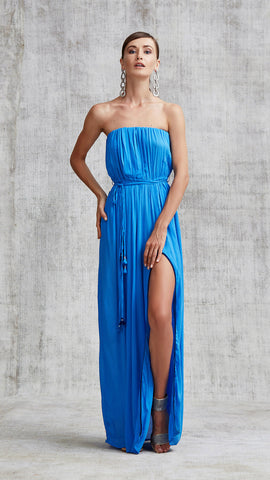 LONG DRESS MARA STRAPLESS - CLASSIC BLUE