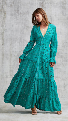 LONG DRESS RITA RUFFLED - GREEN