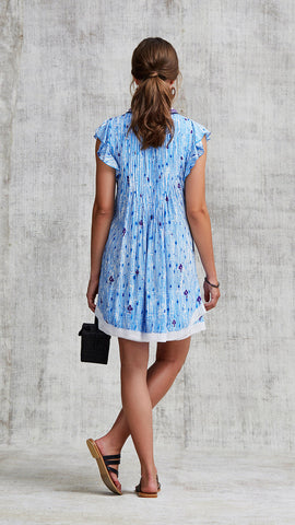 MINI DRESS SASHA LACE TRIMMED - LIGHT BLUE FANCIFUL