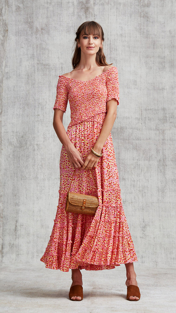 DRESS SOLEDAD OFF SHOULDER - PINK PAPILON