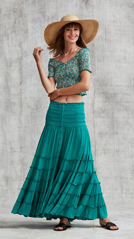 LONG SKIRT FOE PANELLED - GREEN