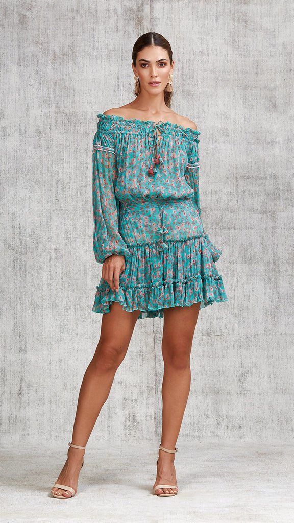 MINI SKIRT CLARA RUFFLED - GREEN EDEN