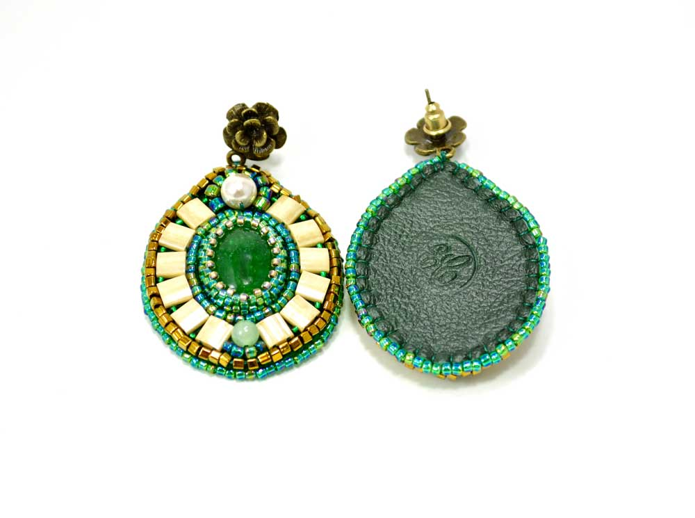 green bead embroidered earrings