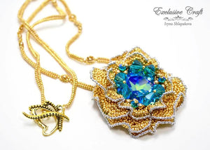 beaded gold blue flower necklace with swarovski
