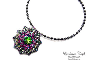 handmade artisan jewelry beaded necklace green pink