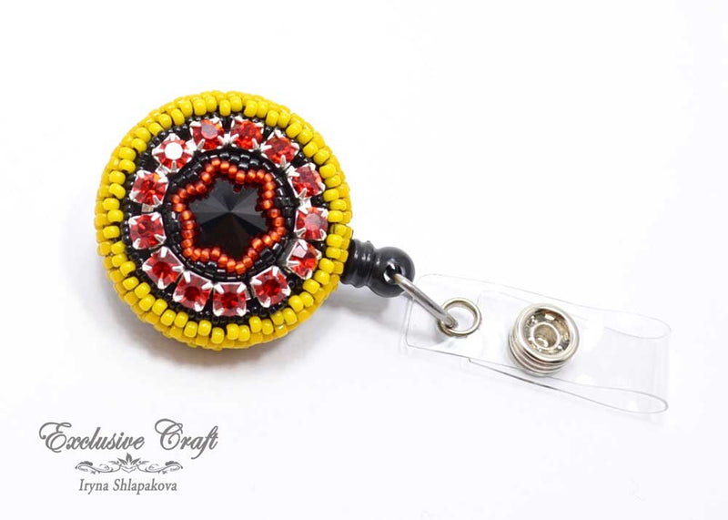 unique bead embroidered red yellow black ID badge reel holder for nurse