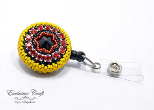 Swarovski yellow red black Germany bead embroidered ID badge for nurse teacher