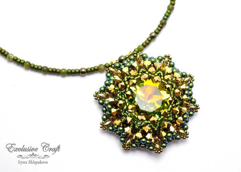 handmade artisan jewelry beaded pendant green gold