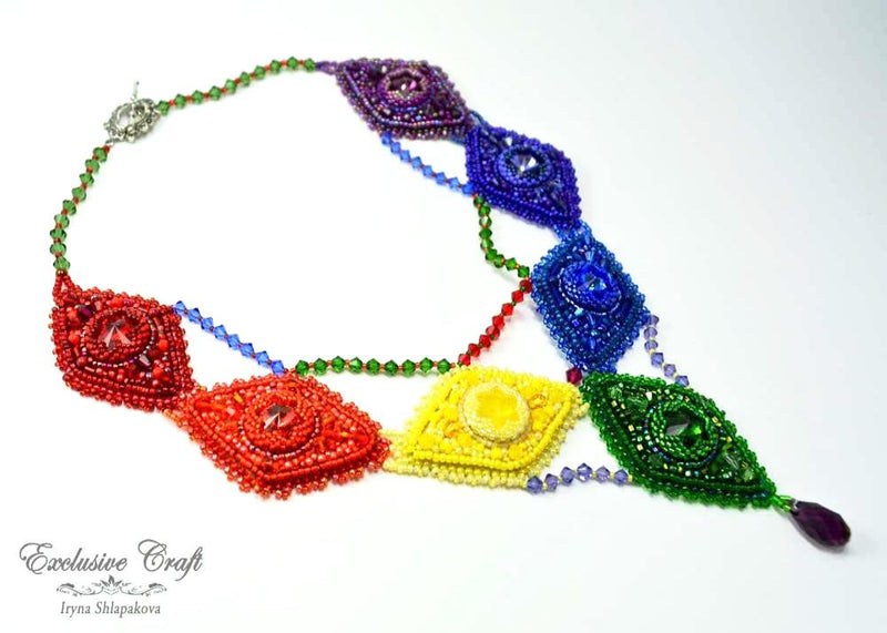 handcrafted bead embroidered necklace rainbow