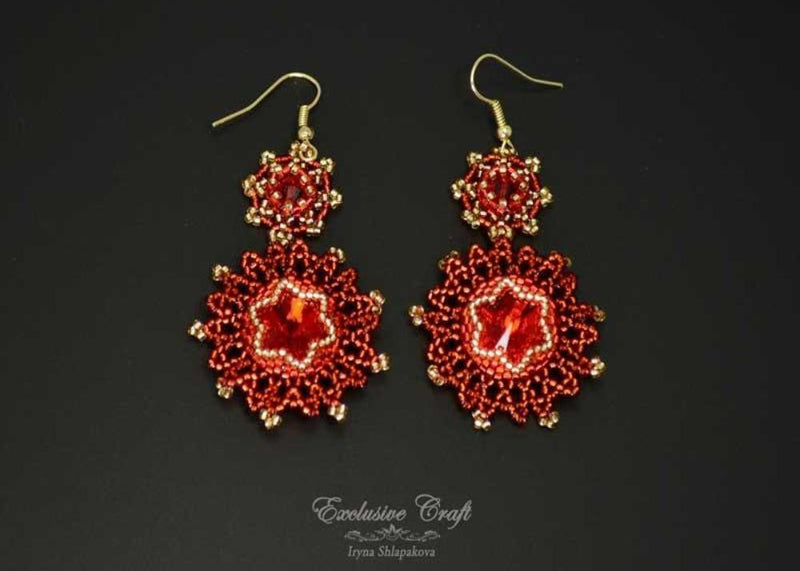 beaded red gold earrings