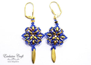 handcrafted blue gold beaded earrings with swarovski