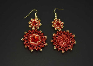 beaded red gold earrings handmade