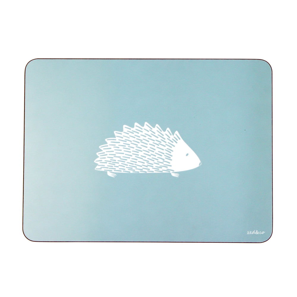 Hedgehog Placemats In Soft Blue - Set of Four - Zed & Co