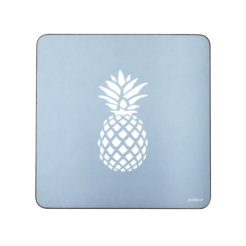 Pineapple Placemats In Bluebell - Set of Four