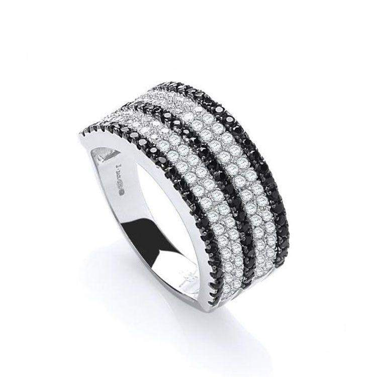 J JAZ Cubic Zirconia Dress Ring -JZR066-Ogham Jewellery