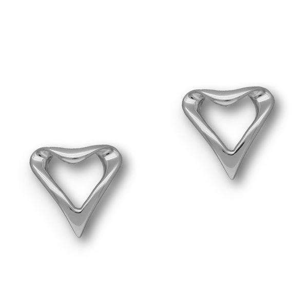 Ortak Sterling Silver Heart Earrings - E11742-Ogham Jewellery
