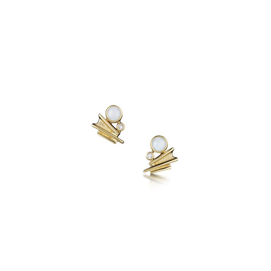 Sheila Fleet 9ct Gold Opal & Diamond Earrings - Moonlight DE0149-Ogham Jewellery